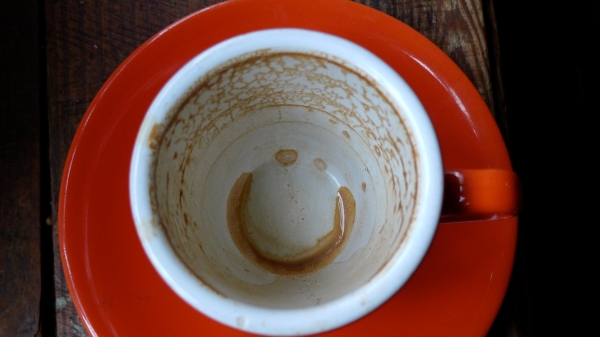 Undrinkable Coffee Rests resembling a smiley.